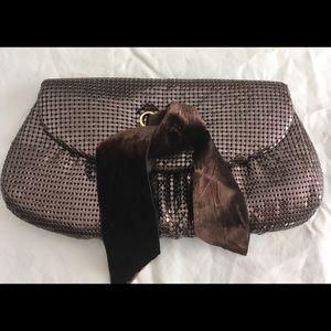 FELIX REY Bronze Metal Mesh Clutch Purse Bag.